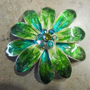 Vintage Blue Green Enamel Pendant